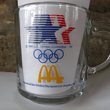 McDonald's 1984 Olympics Clear Glass Coffee Mug  - Advertising