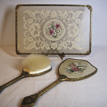 GLASS/EMBROIDERY/ VANITY MIRROR / BRUSH SET .1920-30
