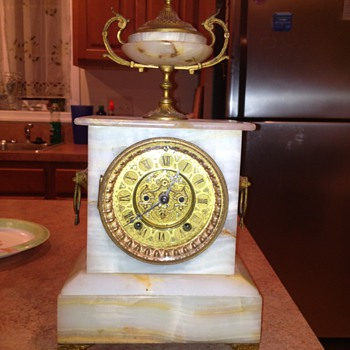 Marble Ansonia Mantle Clock Works just Fine ! - Clocks