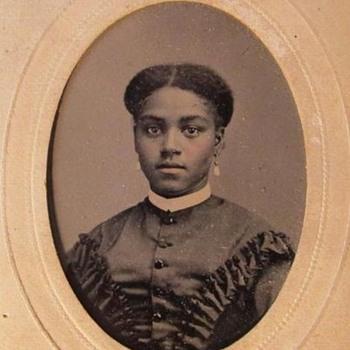 Beautiful African American Woman tintype in cdv mount