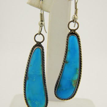 Vintage Antique Navajo Turquoise Sterling Pendant Earrings 37mm x 10mm - Fine Jewelry
