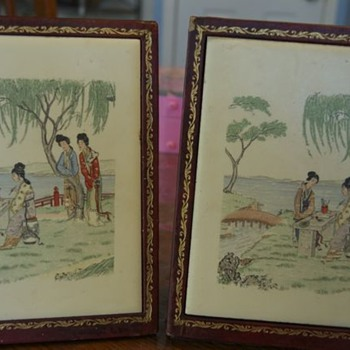 antique japanese tile bookends