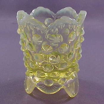 RARE Topaz Hobnail Opalescent footed toothpick holder - Glassware