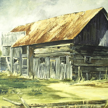 "Sharon Day Oil Painting on Canvas""Old Barn""20 century - Visual Art"