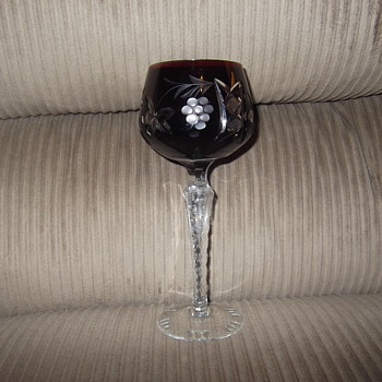 Bohemian Cranberry cut to clear goblet