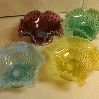 COMPLETE SET OF FENTON OPALESCENT HOBNAIL 8 INCH COMPORTS