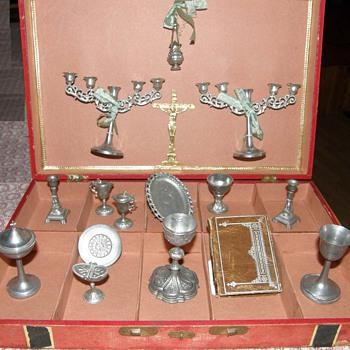 Pewter Victorian Toy ,Service pour dire la messe