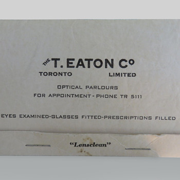 T. Eaton Co Limited, Toronto Lens Tissue - Advertising