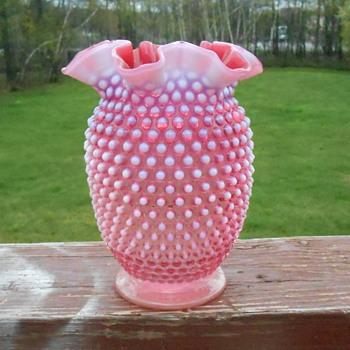 Fenton Pink and White Ruffled Hobnail Vase