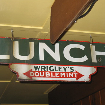  Two sided Wrigleys Gum porcelain LUNCH sign - Signs