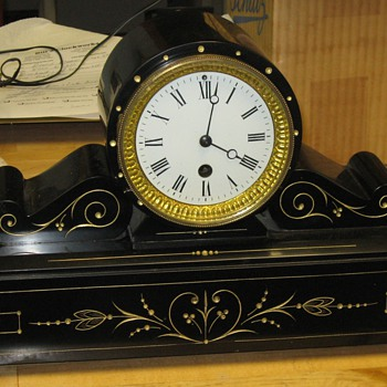 French Slate Tambour Clock, Time Only - Clocks