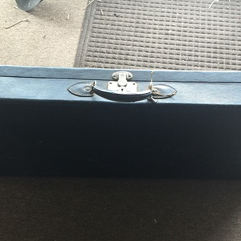 Old Black Corbin Suitcase with key, unknown material made out of or year mfg.