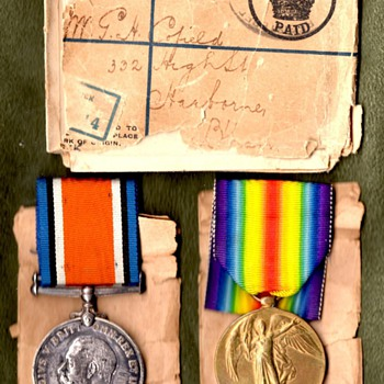 British Victory Medal, War Medal, and Mailing Package. - Military and Wartime