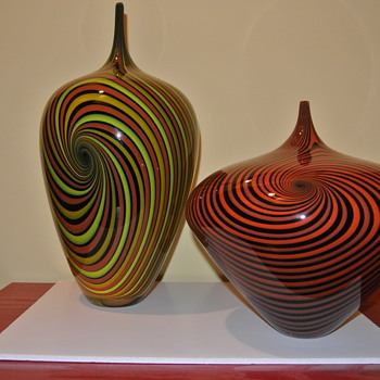 Jeff Holmwood Handcrafted Vortex Vases - Art Glass