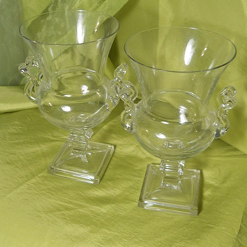 vintage square bottom wine glasses - Glassware