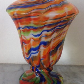 "Colourful wave urn vase ?Ruckl or just ""Czech export"" - Art Glass"
