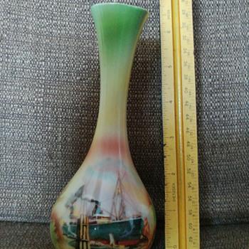 Ship motif vase