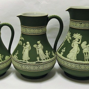 Antique Wedgwood Jasperware Olive Green Jugs/ Pitchers. - China and Dinnerware