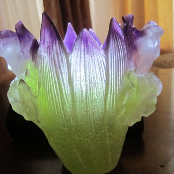 Daum France Iris Art Vase. Stunning Violets and Lime Colors
