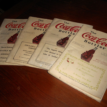 1920s Coca-Cola Bottler magazines showing wooden cooler