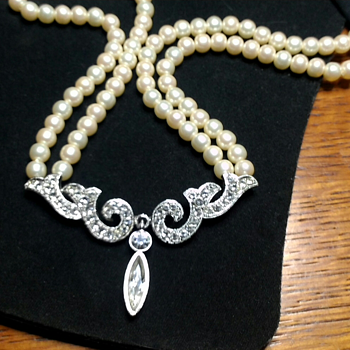 Double Strand Pearl Choker with Rhinestone Show Stopper - Costume Jewelry