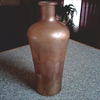 Mystery Gold Favrile Style Vase or Bottle /Raised Unknown Mark / Unknown Age - Art Glass