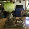 Oriental Oxen and cart oil lamp with double burner