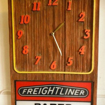 Vintage Rare Freightliner Parts Dept Sign With Clock c. 1960 - Petroliana