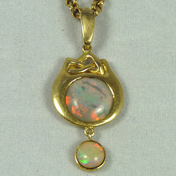 Liberty & Co Opal and Gold Pendant designed by Archibald Knox