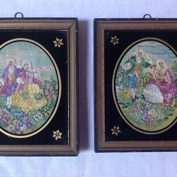 Exquisite needlework embroidery portraits French 1931