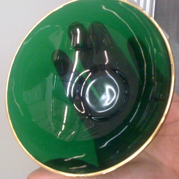 Green Glass Bowl with 24 kt. Gold Rim/Trim