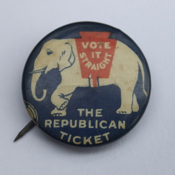 Vote It Straight Republican Party Pin from C. 1920 - Medals Pins and Badges