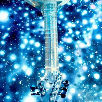 Modern Man's handmade clear polyester resin guitar.