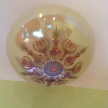 enamled & iridized globe ceiling lamp