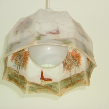 Reverse Painted Glass Light Shade