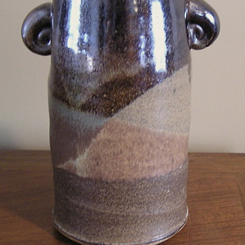 Stoneware multi-glazed lugged vase