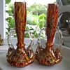 Pair Of Spatter Glass Vases