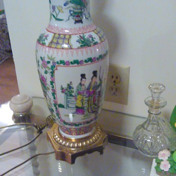 Need Help IDing this Antique Asian lamp with heavy cast base