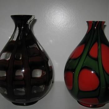 ( lesson for new collectors) Kralik Ball Vases same shape different decors - Art Glass