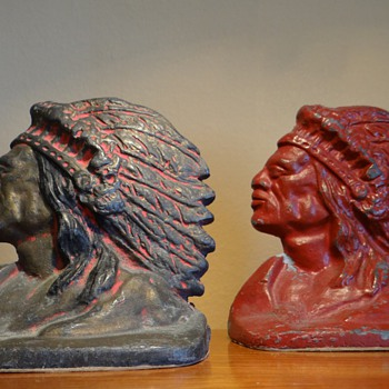 INDIAN BOOK ENDS  - DATES 1930's - Books