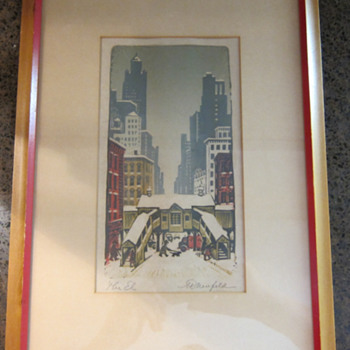 RARE  -  Woldemar Neufeld -  The El - Color Woodblock Print