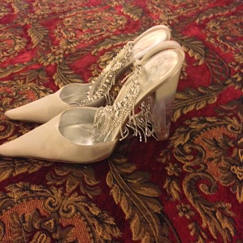 Vintage St. John Satin Rhinestone Pumps with Lucite Heel