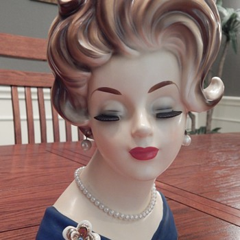 Big Texas Hair - Lady Head Vase - Mid-Century Modern