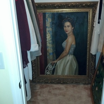 Large oil painting frame stamped made in belgium....