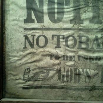 "Cloth Religious ""No Tobacco"" Sign"