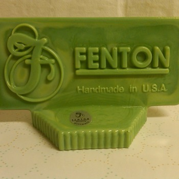 Stunning Fenton Green Slag Logo Display Sign - Glassware
