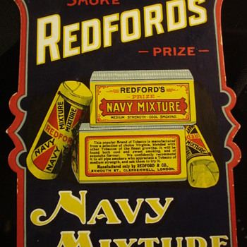 REDFORD'S NAVY MIXTURE VINTAGE ADVERTISING SIGN  - Signs