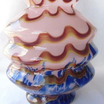 Irresistible Kralik Art Deco Glass Vase: Spatter, Swirls, Colors, Shape, Signed.