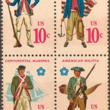 "1975 - ""Continental Military Uniforms"" Postage Stamps (US)"
