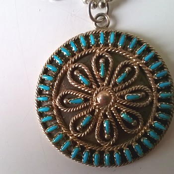 A Lonely Zuni Pettipoint Earring Is Now A Pendant - Thrift Shop Find 50 Cents - Fine Jewelry